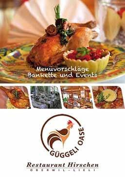 Bankettkarte Menüvorschläge Restaurant Hirschen