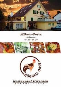 Mittags-Karte Restaurant Hirschen LIeli